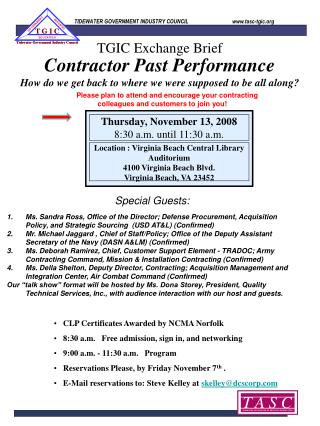 Contractor Past Performance How do we get back to where we were supposed to be all along