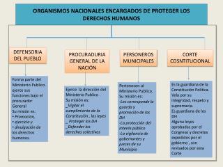 ORGANISMOS NACIONALES ENCARGADOS DE PROTEGER LOS  DERECHOS HUMANOS