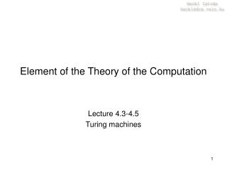 Element of the Theory of the Computation
