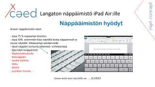 Langaton näppäimistö iPad Air:ille