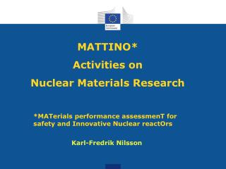MATTINO*  Activities on  Nuclear Materials Research