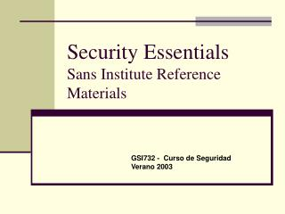 Security Essentials Sans Institute Reference Materials