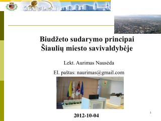 Biudžeto sudarymo principai Šiaulių miesto savivaldybėje