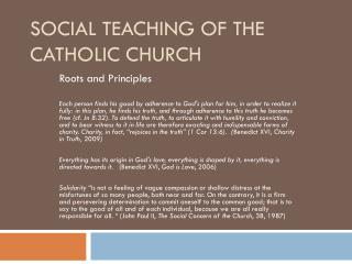 Social Teaching of the Catholic Church