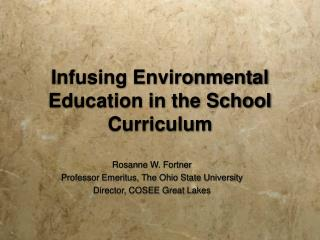 Infusing Environmental Education in the School Curriculum