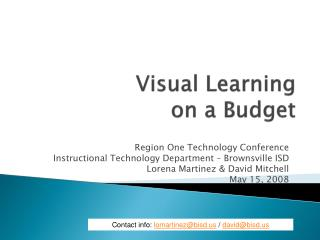 Visual Learning  on a Budget
