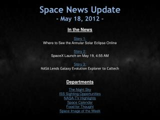Space News Update - May 18, 2012 -