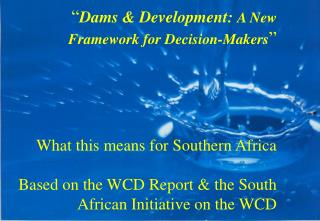 Southern African Contribution to WCD Knowledge Base