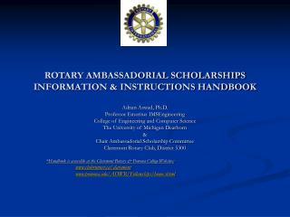 ROTARY AMBASSADORIAL SCHOLARSHIPS  INFORMATION  INSTRUCTIONS HANDBOOK