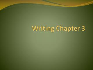 Writing Chapter 3