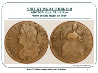 1787 CT MI. 41-ii DBL R-4 AUCTOPI Obv, ET IIB Rev Very Weak Date on Rev