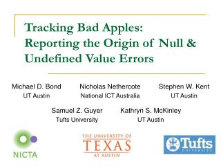 Tracking Bad Apples: Reporting the Origin of Null & Undefined Value Errors