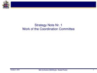Strategy Note Nr. 1 Work of the Coordination Committee