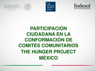 PARTICIPACIÓN CIUDADANA EN LA CONFORMACIÓN DE COMITÉS COMUNITARIOS THE HUNGER PROJECT MÉXICO