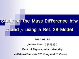 Study on the Mass Difference btw  p  and  r  using a Rel. 2B Model