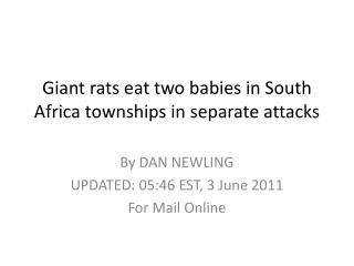 Giant rats eat two babies in South Africa townships in separate attacks