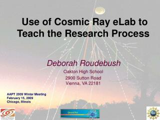 Use of Cosmic Ray eLab to Teach the Research Process