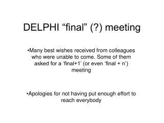"""DELPHI """"final"""" (?) meeting"""