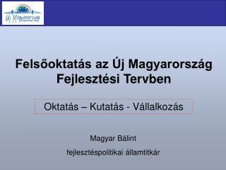 Felsőoktatás az Új Magyarország Fejlesztési Tervben