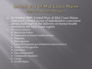 United Way of Mid Coast Maine Mental Health Project