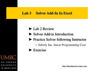 Lab 3     Solver Add-In In Excel