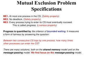Mutual Exclusion Problem Specifications