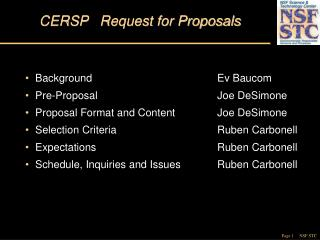 CERSP   Request for Proposals