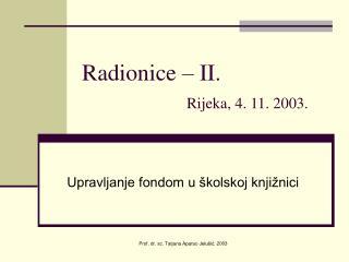 Radionice – II. Rijeka, 4. 11. 2003.