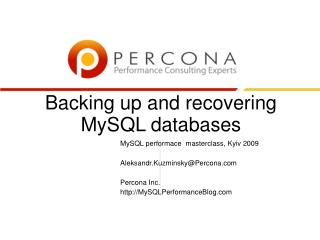 Backing up and recovering MySQL databases