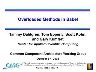 Overloaded Methods in Babel