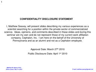 CONFIDENTIALITY DISCLOSURE STATEMENT