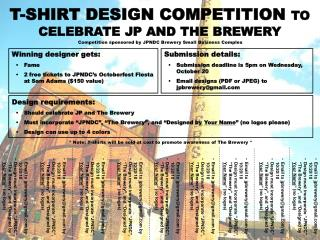 T-SHIRT DESIGN COMPETITION  TO CELEBRATE JP AND THE BREWERY