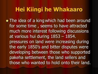 Hei Kiingi he Whakaaro