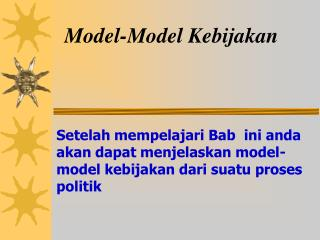 Model-Model Kebijakan