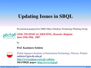 Updating Issues in SBQL