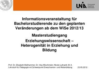 Masterstudiengang  Erziehungswissenschaft – Heterogenität in Erziehung und Bildung