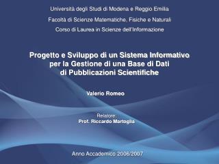 Universit� degli Studi di Modena e Reggio Emilia