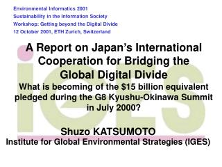 Shuzo KATSUMOTO Institute for Global Environmental Strategies (IGES)