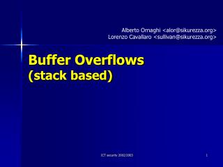 Buffer Overflows (stack based)