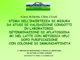 STIMA DELL'INCERTEZZA DI MISURA DA STUDI DI VALIDAZIONE CONDOTTI IN LABORATORIO.