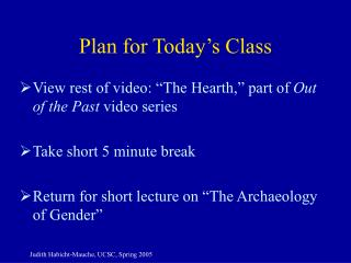 Plan for Today's Class