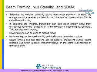 Beam Forming, Null Steering, and SDMA