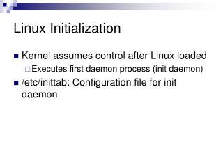 Linux Initialization