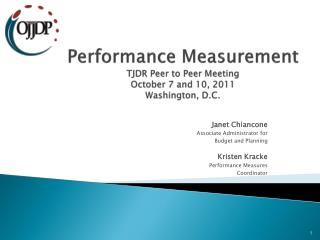 Performance Measurement TJDR Peer to Peer Meeting October 7 and 10, 2011 Washington, D.C.
