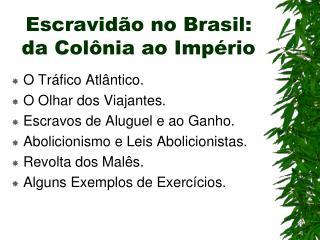 Escravidão no Brasil: da Colônia ao Império
