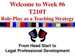 Welcome to Week #6 T210T Role-Play as a Teaching Strategy