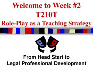 Welcome to Week #2 T210T Role-Play as a Teaching Strategy
