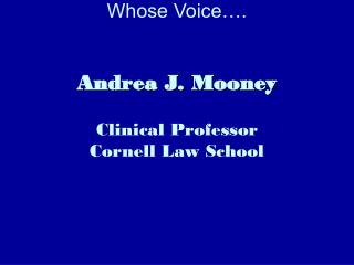 Whose Voice…. Andrea J. Mooney Clinical Professor Cornell Law School