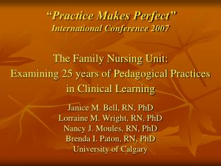 """Practice Makes Perfect"" International Conference 2007"