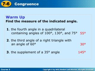 Warm Up Find the measure of the indicated angle.